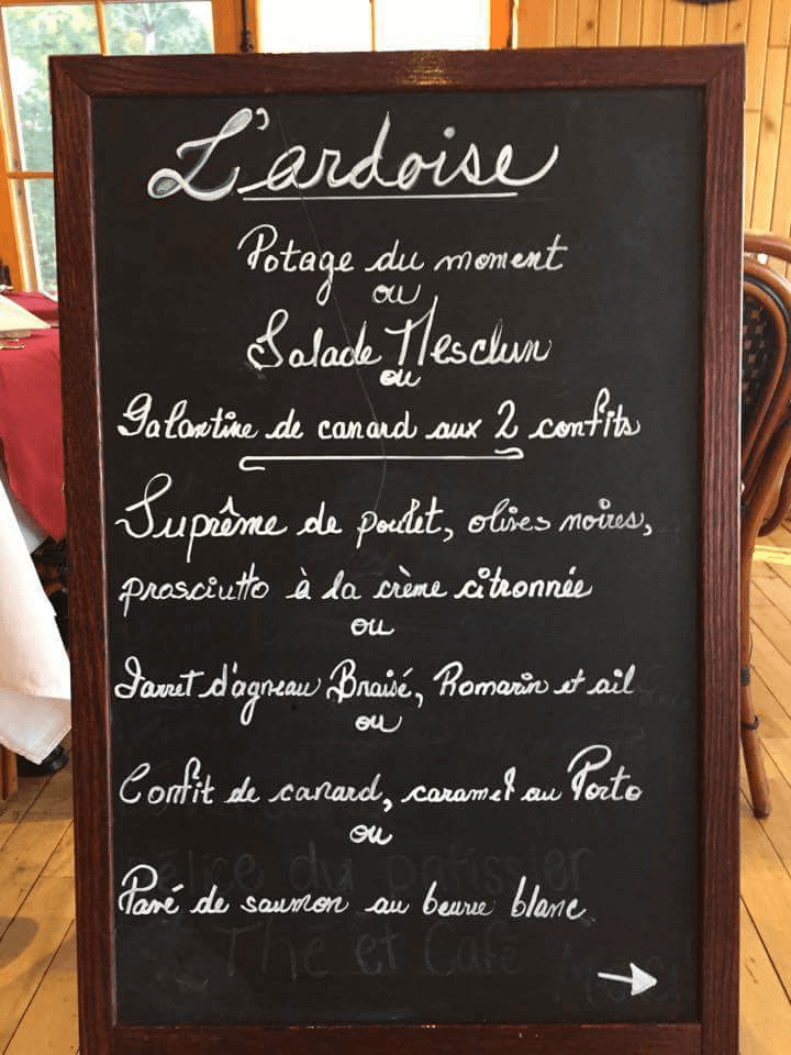 Menu table d'hôtes Le windigo